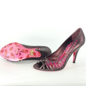 Betsey Johnson Purple Strap Cut Out Floral Heels